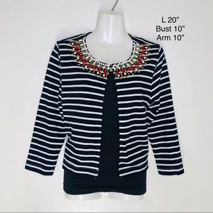 Ruby Rd. Sweaters - RUBY Rd. Striped embellished Cardigan sweater